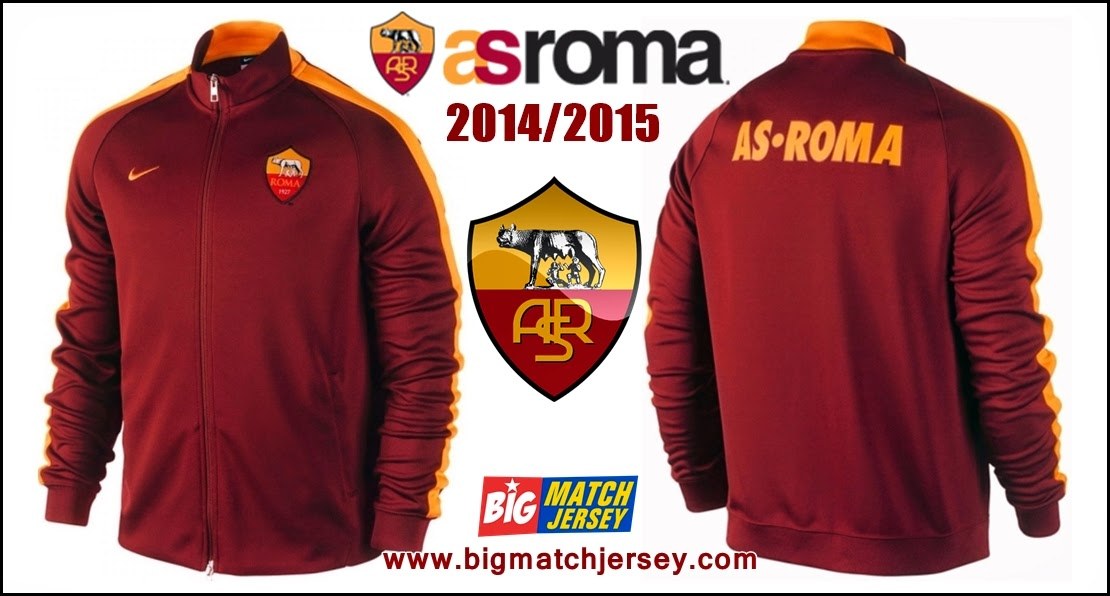 Jaket GO Thailand As Roma Home N98  Terbaru Nike Official 2014 - 2015 Merah