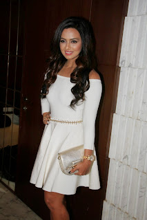 Actress Sana Khan Pictures in White Short Dress at Aaarya Babbar Book Launch  6