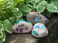 Father's Day craft, thumbprint craft, kids craft, you rock, rocks, gift, dad, kids
