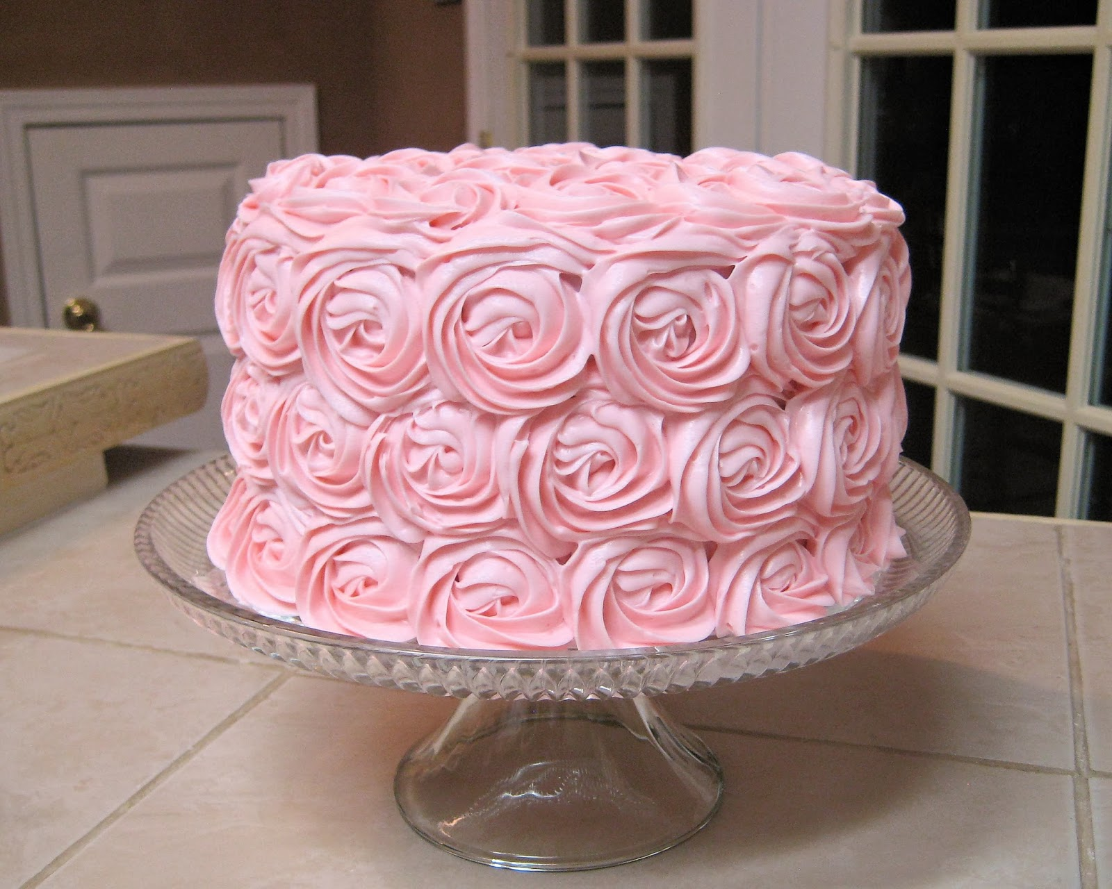 Shabby Chic Baby Shower Pink Rose Cake 4