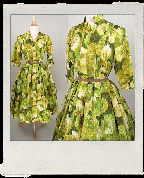 Vintage 1950s Day Dress Peonie Print www.vintagelovebygigi.com