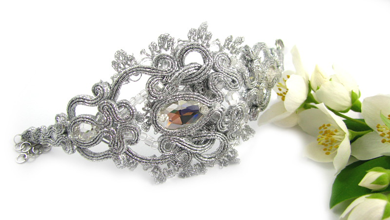srebrna bransoletka ślubna sutasz
