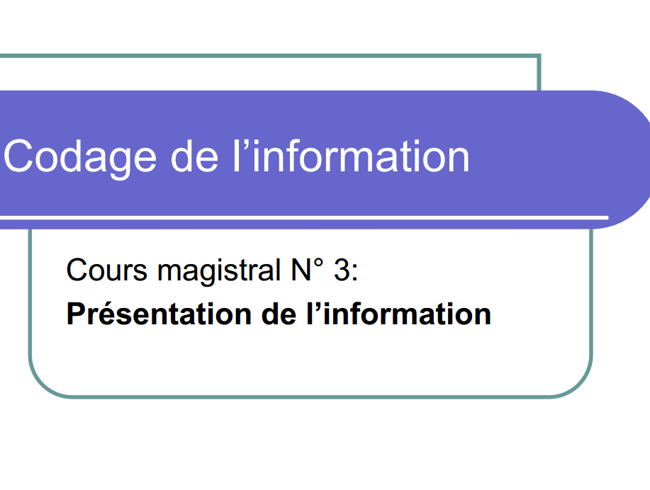 Cours Codage d'information