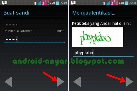 memasukkan password gmail di android