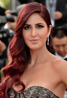 Katrina Kaif tottaly new look at Cannes Spicy Maroon Hairs and Deep neck Top