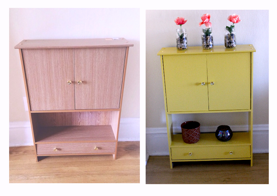 before and after furniture redo mustard yellow DIY