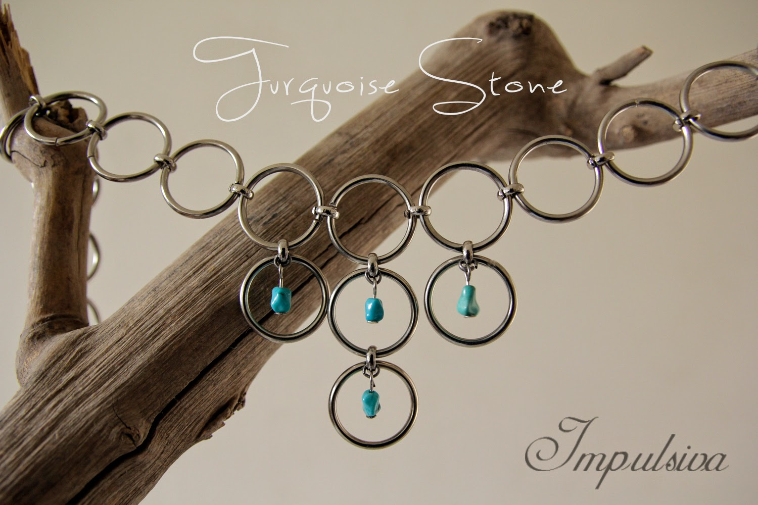 Ring chain necklace with turquoise stone