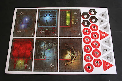 Matriz 2 con habitaciones y marcadores de la caja de Assassinorum: Execution Force