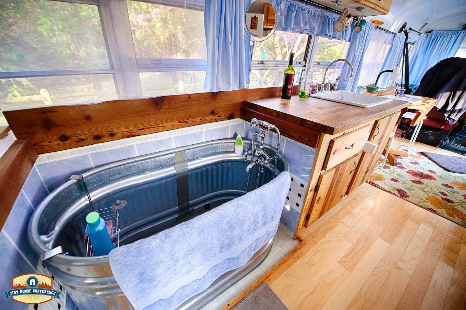 The Tiny House Conference Photos by Christopher Tack Just Right Bus  Living with a Water Trough Bathtub