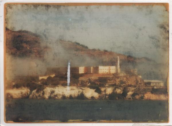 painting showing Alcatraz prison on island
