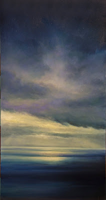 oil painting of a storm at sunset over Newfoundland