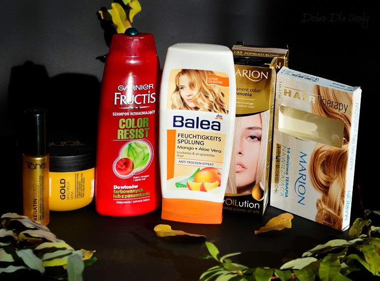 Kosmetyki do włosów, szampon, odżywka, maska, olejek farba blond, kuracja nawilżająca