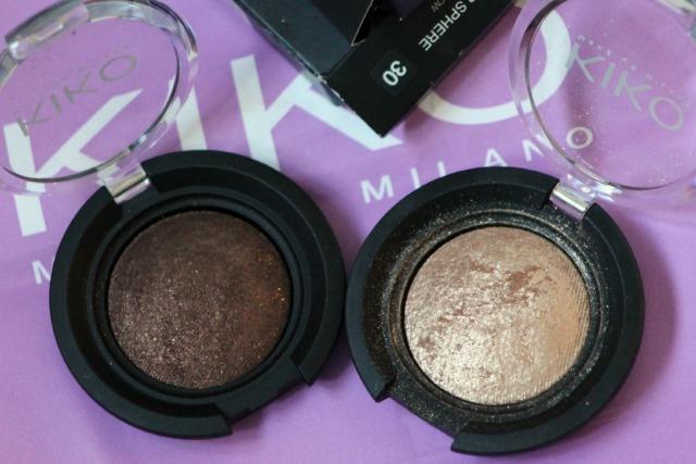 Kiko,colour sphere, eyeshadow, review, shade 30, gold, shade 31, dark dove gray, swatches