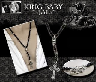 king baby studio onyx rose skull cross rosary necklace