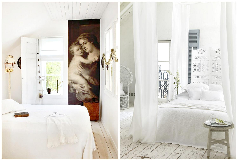 biała sypialnia parawan