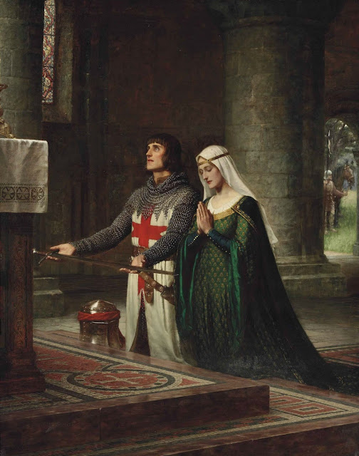 dedication,Templar,Edmund Blair Leighton