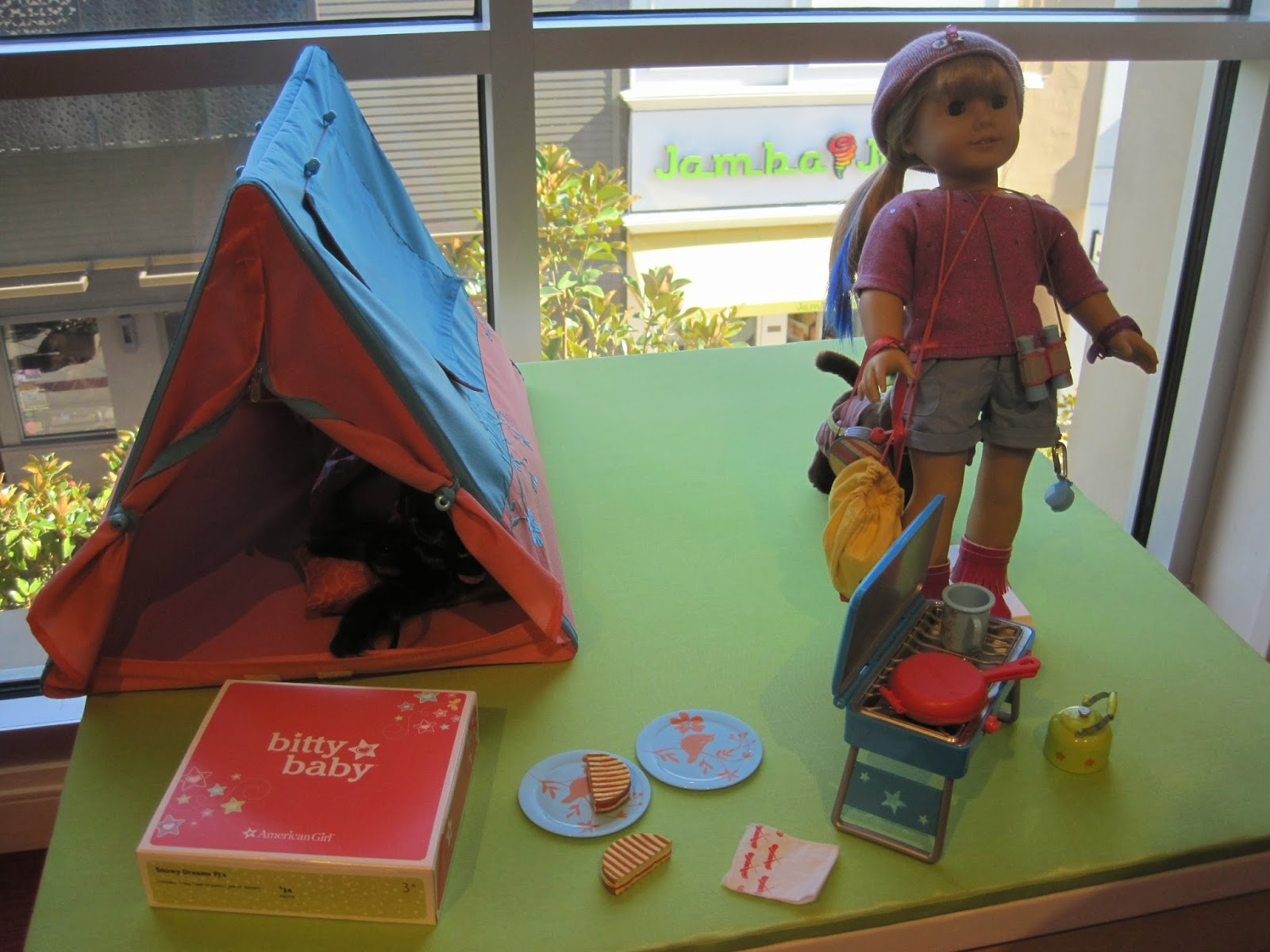 One of the other displays for kiddos to play with included the Sunset Sleepover Tent the Sunset Sleepover Bag the Sparkly C& Outfit ... & Never Grow Up: A Momu0027s Guide to Dolls and More: American Girl ...