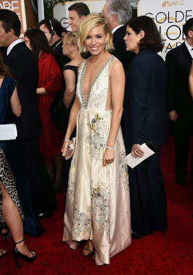 Sienna Miller in Miu Miu gown at 72nd Annual Golden Globe Awards Dress
