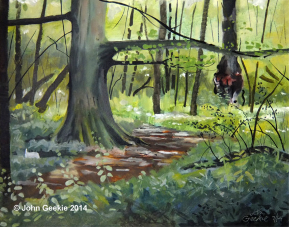 Plein air oil painting demonstration, a summer woodland