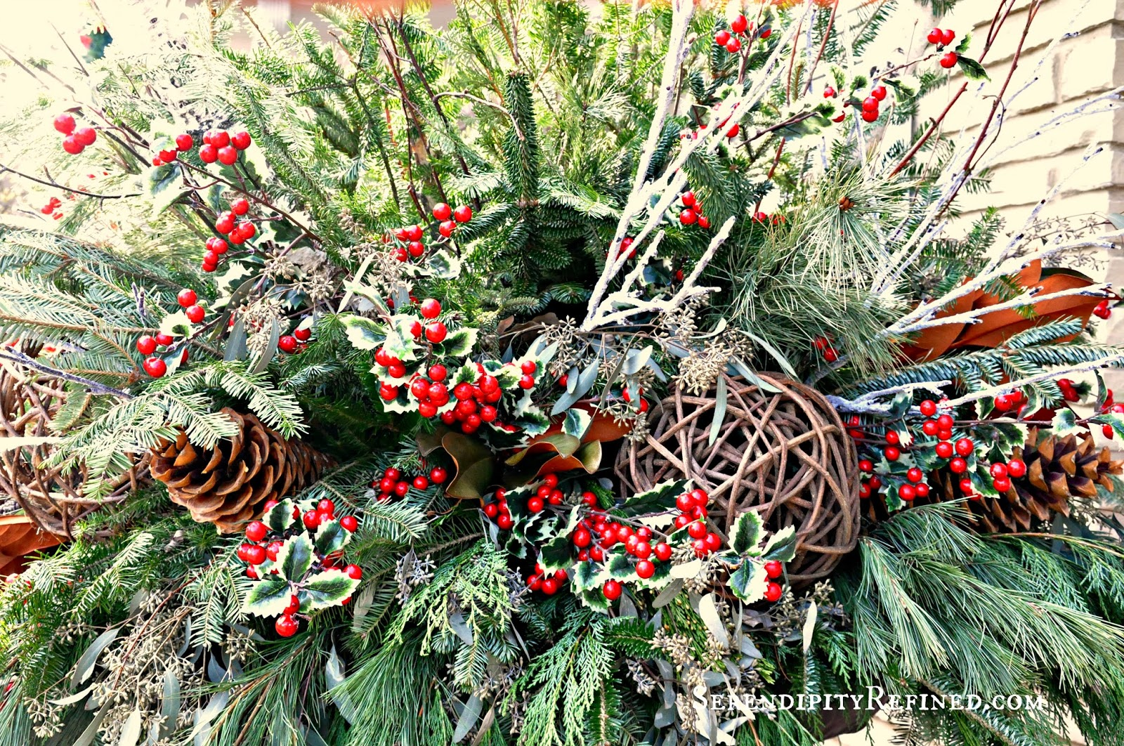 Winter Christmas Holiday Outdoor Urn