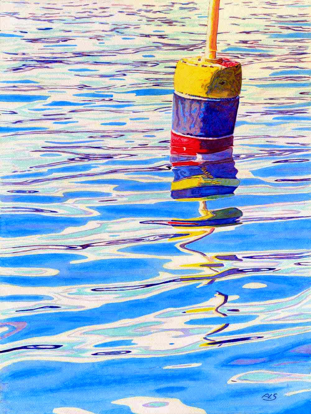 "Buoy Surreal II - Watercolor 18"" x 24"""