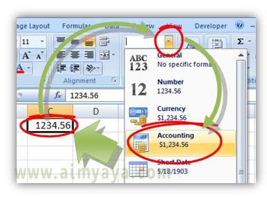 Gambar: Cara menggunakan format sel akunting  di Microsoft Excel