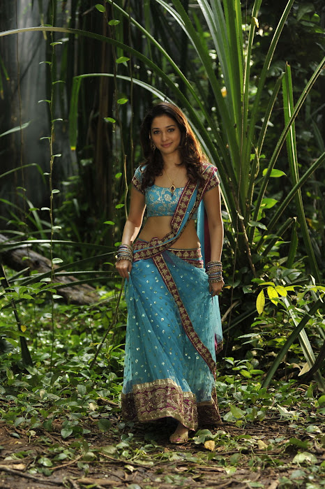 Tamanna Bhatia in South Indian Style Sky Blue Netted Half-Saree with Maroon Border