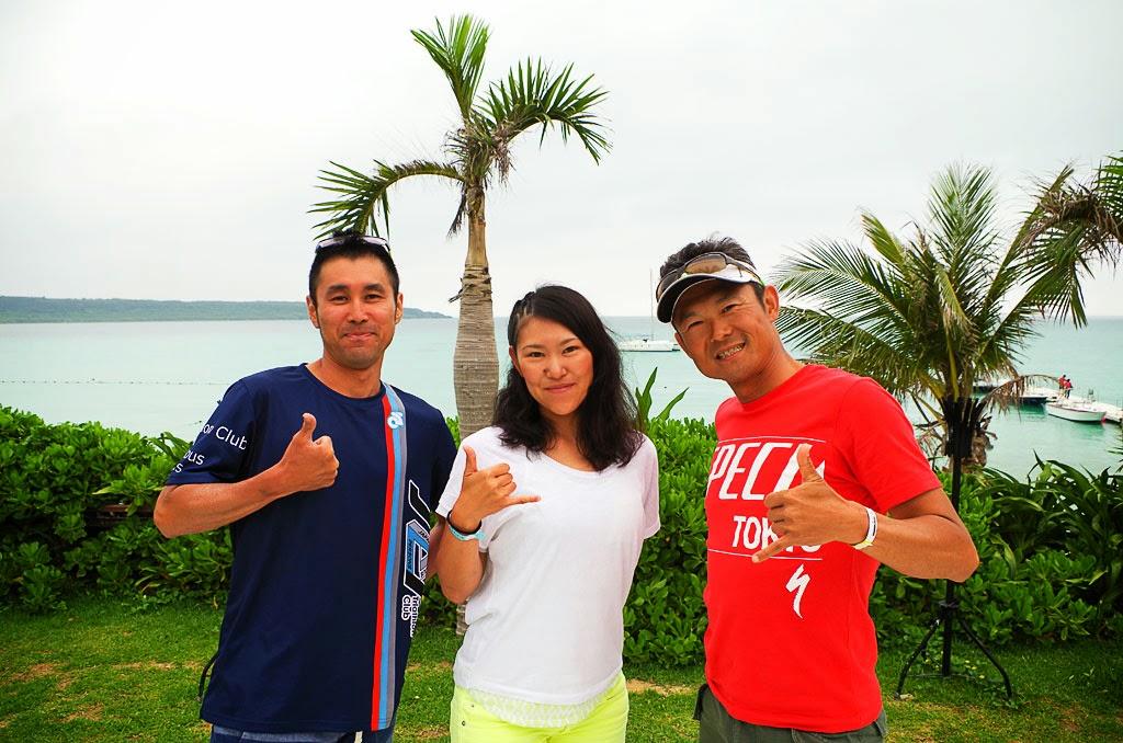 トライアスロン宮古島大会を終えた3人。素晴らしい笑顔です。