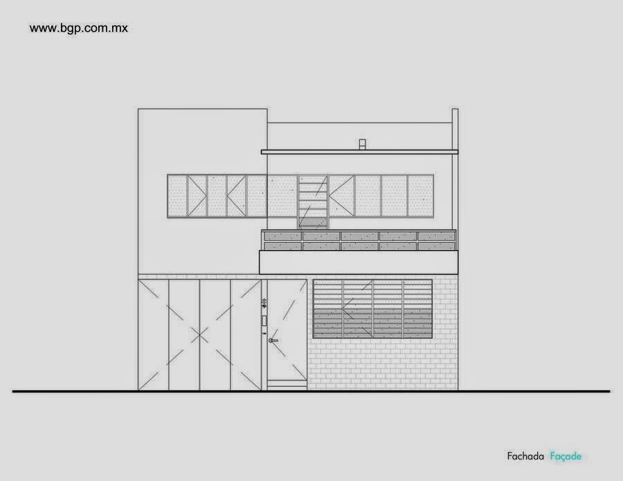 Casa Luis Barragán plano de alzada fachada