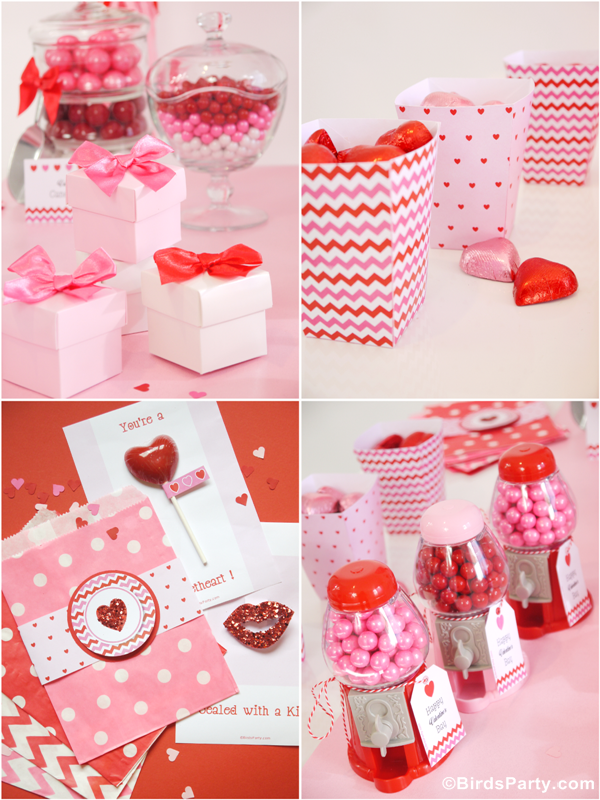 Valentine's Day Party Ideas: Sweet Heart Valentine's Day Desserts Table and Pink and Red Hearts Printables!!