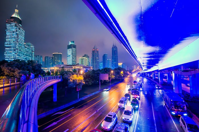 neon elevated road, Shanghai