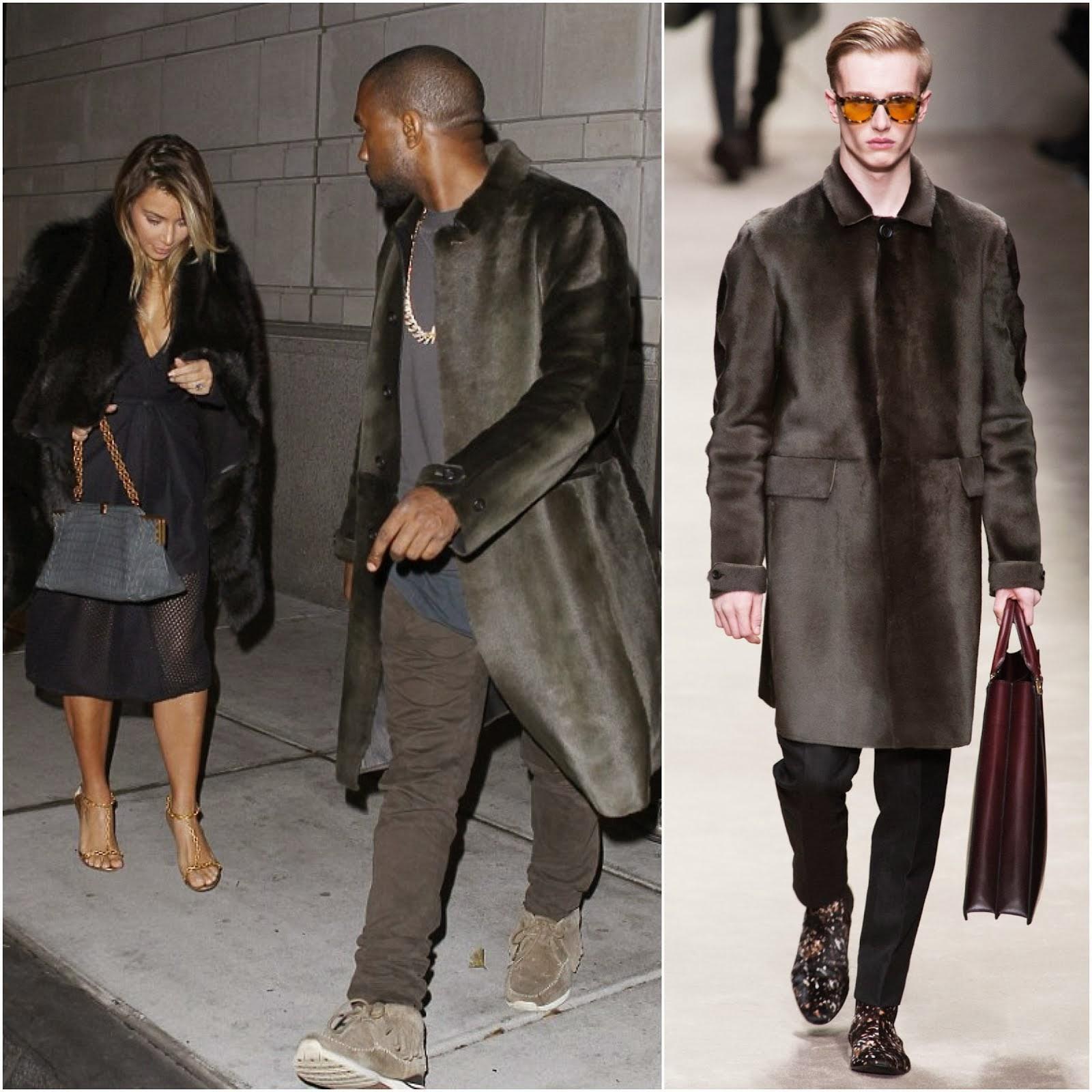 Kanye West in BURBERRY PRORSUM SHEARLING COAT - - Philadelphia Street Style November 2013