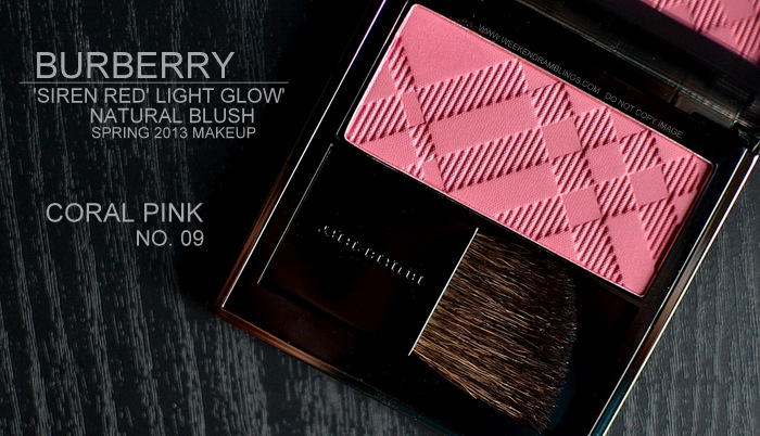 Burberry Spring Summer 2013 Makeup Collection Siren Red Light Natural Glow Blush Coral Pink 9 Indian Beauty Blog Swatches