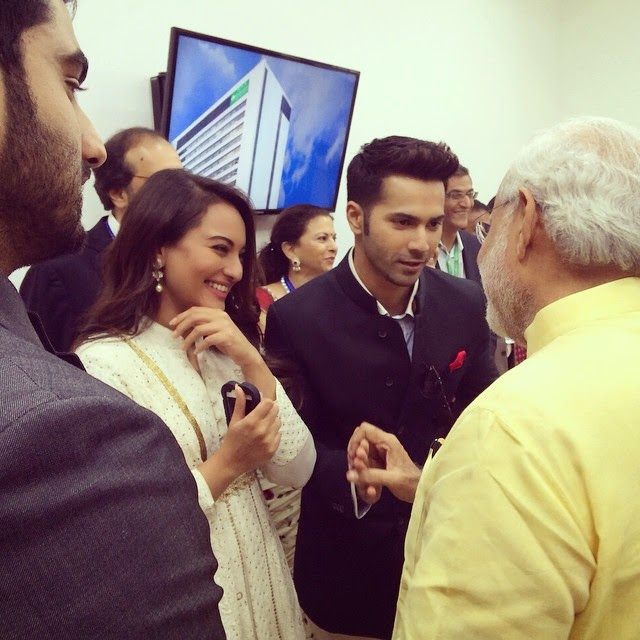 Sonakshi, Varun & Arjun greets the Narendra Modi PM of India