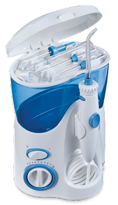 Waterpik with open lid
