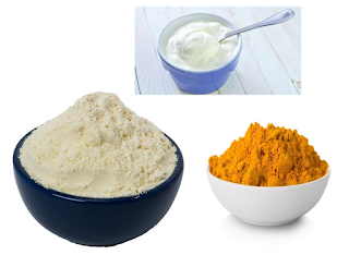 Curd Gram FLour and Turmeric for face and skin - Homeremediestipsideas