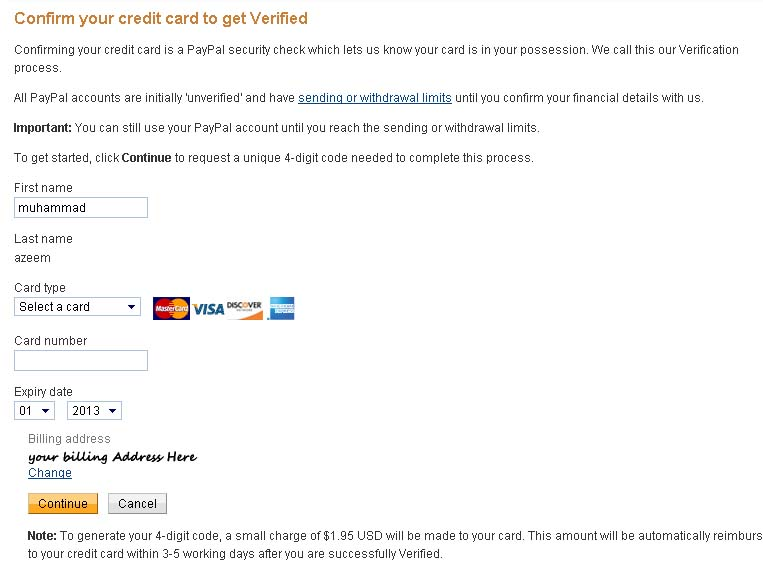creditcard to paypal