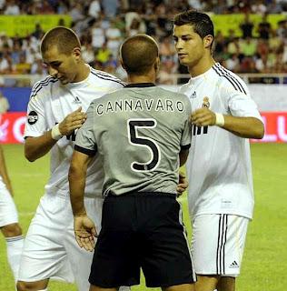 Cristiano Benzema ans Cannavaro. Real Madrid vs Juventus 2009