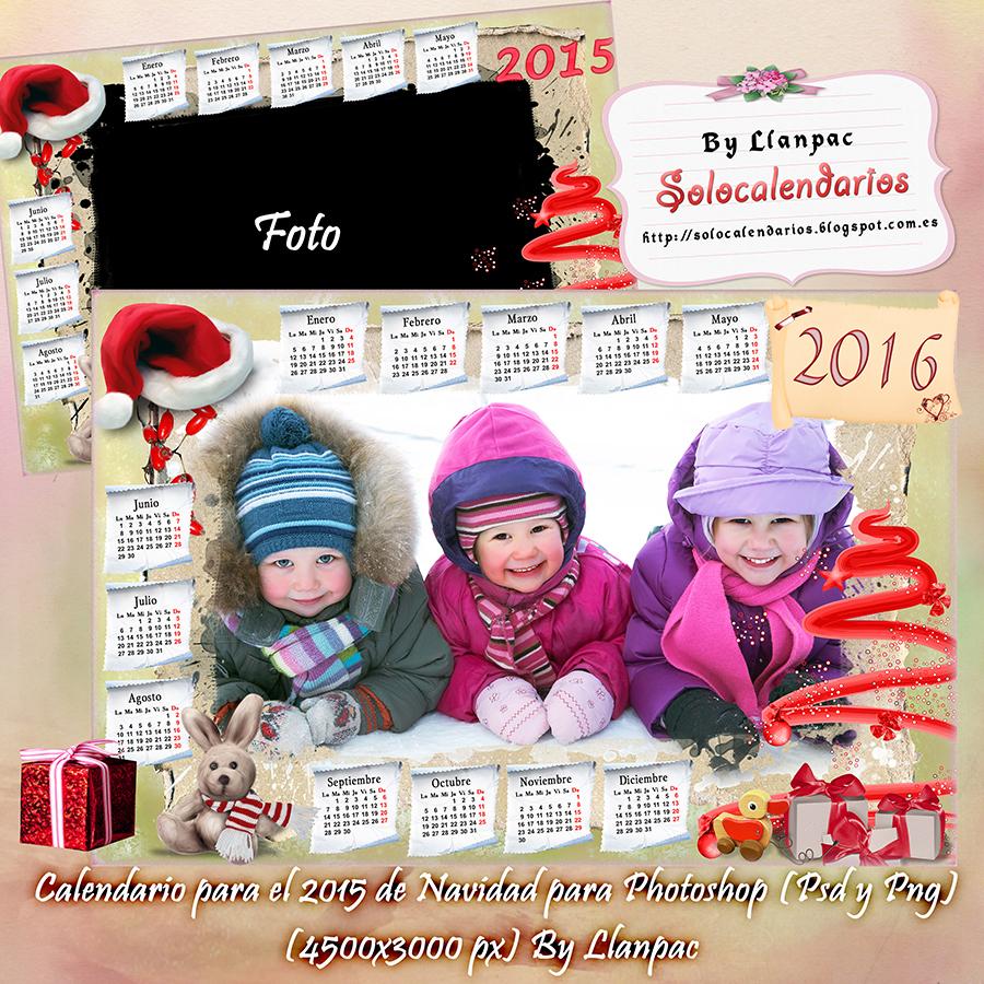 ... Llanpac: Calendario para el 2016 de Navidad para Photoshop (Psd y Png