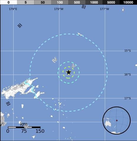 Epicentro sismi, islas Fiji, 17 de Abril 2015