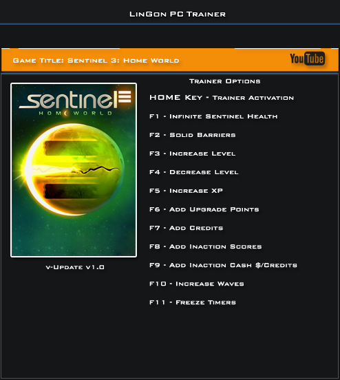 Sentinel 3 Home World v1.0 Steam Trainer +11 [LinGon]