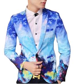 blue graphic printed fashionable art mens blazer
