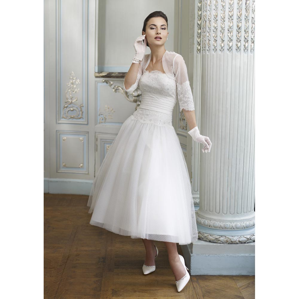 Tea length wedding dress tyler living for Tea length wedding dress with bolero jacket