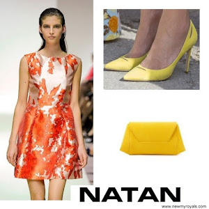Queen Maxima Style NATAN Dress and Pumps and Clutch Bag