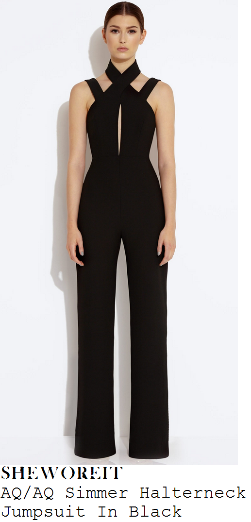 lauren-pope-black-halter-sleeveless-strap-detail-jumpsuit