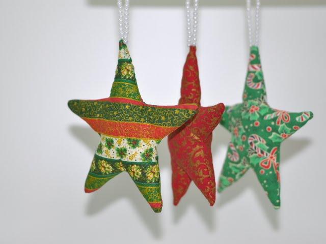 Kit com 3 estrelas de tecido