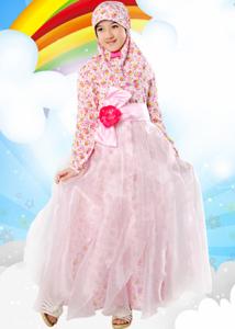 Model baju muslim modern anak perempuan motif bunga