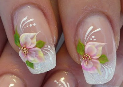 feminine+flower+french+nail+art+ideas French Manicure with Flowers