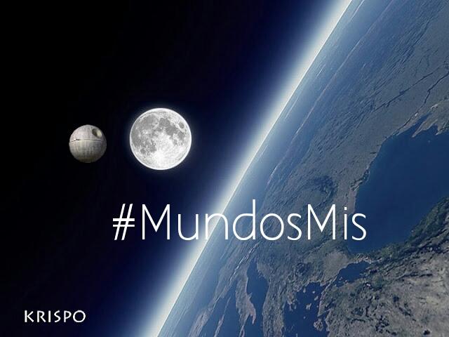 imagen de la tierra, la luna y la estrella de la muerte con hashtag