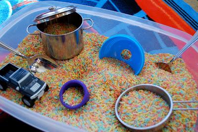 Rainbow play rice for kids